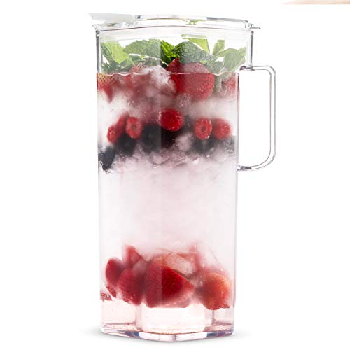 Komax Clear Large Tritan Pitcher with Lid | 77 Oz - 2.4 Quart (Full Capacity Jug) | Great Carafe for Water, Juice, Ice Tea, Lemonade, Sangria & Milk | Airtight, BPA Free, Square Shape Water Pitcher by Komax (Image #2)