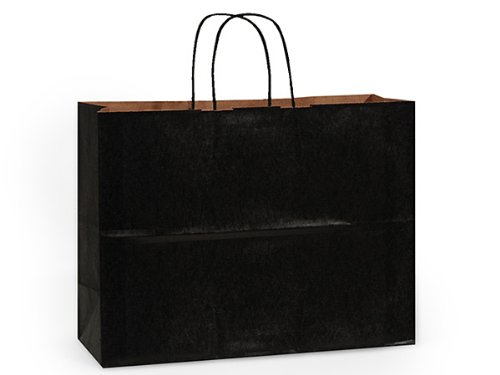 100% Recycled Kraft Tint Bags - Vogue Black 100% Recycled Kraft Bulk Shopping Bags 16x6x12'' (250 bags) - WRAPS-BVTBK by Miller Supply Inc