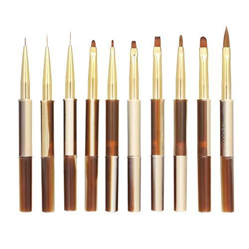 Anself 10pcs UV Gel Acrylic Nail Brushes Kit Nail Art Design Painting Liner Pen Set Nail Manicure Tool