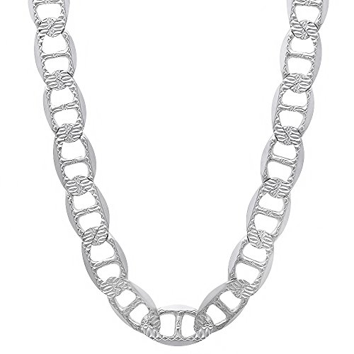 Men's 925 Sterling Silver Italian Crafted 6.3mm Diamond-Cut Mariner Link Chain, 30