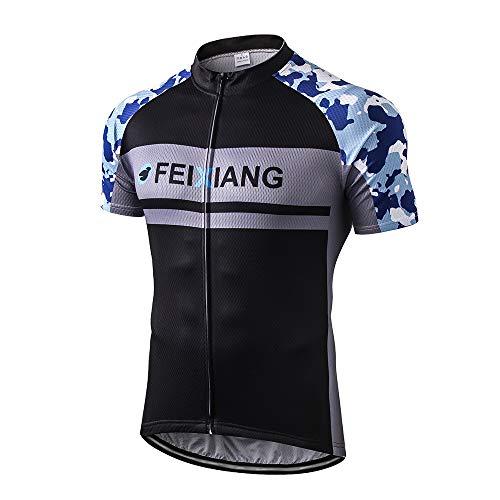 - FEIXIANG Men's Cycling Jersey, Cool Dry Short Sleeve Bike Shirts Bicycle Top with Pockets Zipper Biking Jacket Blue Camo