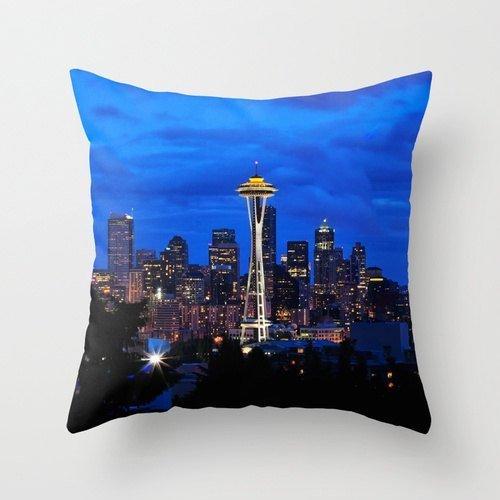 Linkla Danniol Seattle Pillow Space Needle Seattle Skyline Blue Pillowcase,...