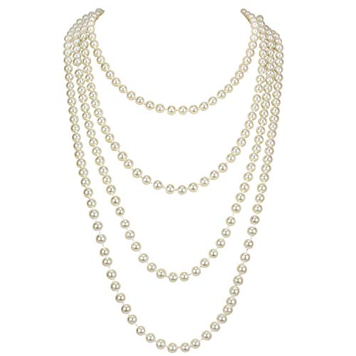 KOSMOS-LI 1920s Retro Faux Pearls Ivory Beads Cluster Long Pearl Necklace 58