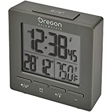 Oregon Scientific RM511A Gray Portable Dual Alarm Clock with Temperature Date Backlight for Home Office Travel