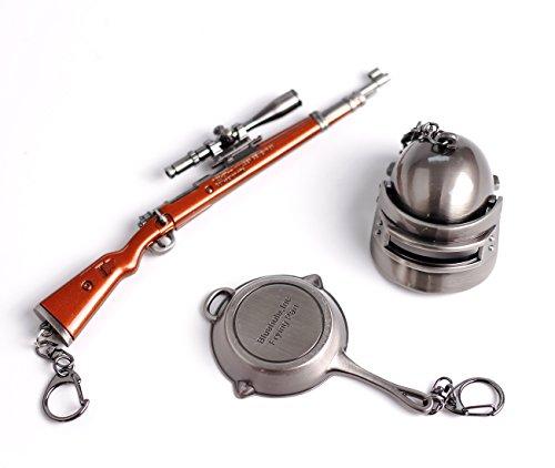 Playerunknown's Battlegrounds 3Pcs Set Games PUBG Mini Metal Kar98K Pan Gun Rifle Casque Model Figure Arts Toys