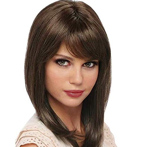 Brown Imported - ZM Women's Short Bob Wig With Hair Bangs Imported Heat Resistant Dark Brown Yaki Syntheic Hair Wig