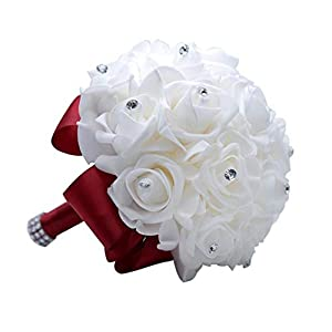 TaeHyung Pe Rose Bridesmaid Wedding Foam Flowers Rose Bridal Bouquet Ribbon Fake Wedding Bouquet,Wine 56