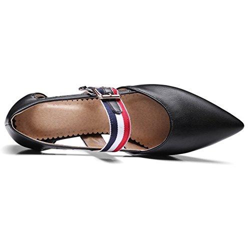 COOLCEPT Damen Mode Knochelriemchen Mary Janes Pumps Geschlossene Mitte Absatz Schuhe Schwarz