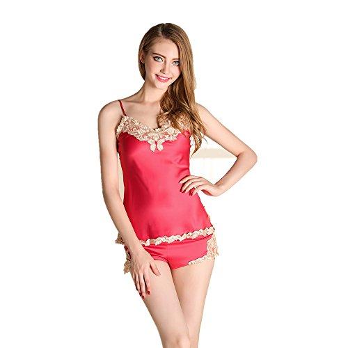 Set canotta corte comodo Rosso pantaloni e pizzo di Donne pigiama maniche Ptwx77q
