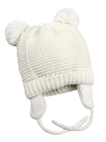 Zando Toddler Baby Winter Hat Soft Warm Earflap Beanies Infant Knit Cute Caps for Boys Girls White M (1-2 Years)
