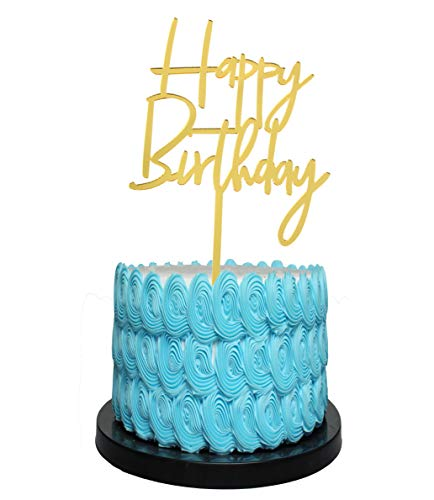 Birthday Cake Topper Customize Cake Topper gold Glitter Cake Topper with Acrylic Stake Cake Decoration