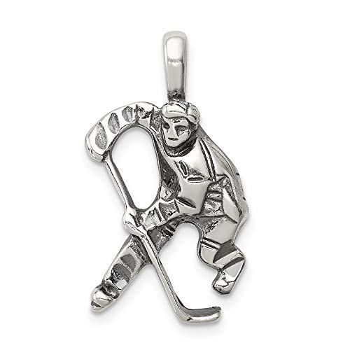(Jewelry Pendants & Charms Themed Charms Sterling Silver Antiqued Hockey Player Charm)