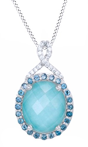 Blue Sapphire Doublet - Jewel Zone US Simulated Turquoise, Blue Topaz & White Sapphire CZ Doublet Pendant in 14k White Gold Over Sterling Silver
