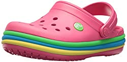 Crocs Unisex-kids Cb Rainbow Band K Clog, Paradise Pink, 5 M Us Toddler