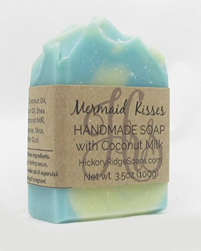 Mermaid Kisses Handmade Soap with Coconut Milk & Shea Butter | Natural Soap | Vegan Soap | Floral Soap | Handcrafted Soap | Cruelty Free | For All Skin Types | Pthalate and Preservative Free | 3.5oz