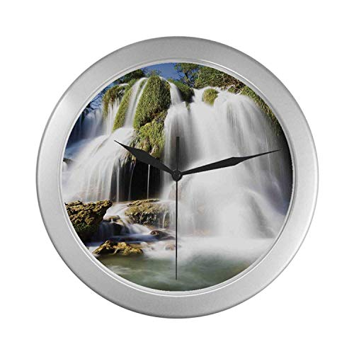 C COABALLA Waterfall Simple Silver Color Wall Clock,Majestic Waterfall Flowing on Cliff Rocks in Rural Town Wild Nature Art Image for Home Office,9.65
