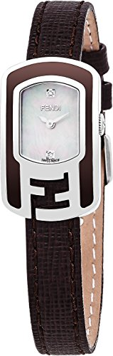 Fendi Chameleon Women's-small Mother-of-Pearl Face Stainless Steel Diamond Brown leather Strap Swiss Watch F312024521D1 by Fendi