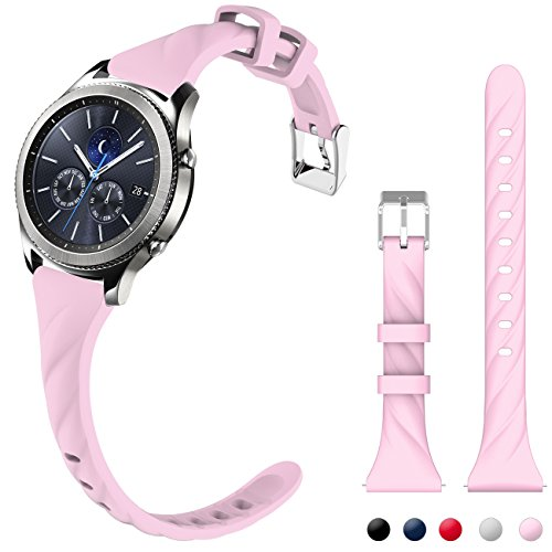 Gear S3 Bands, Silicone Watch Bands for Women Extremely Narrow Rubber Watch Strap Quick Release Replacement Wristband with Metal Clasp for Samsung Gear s3 Frontier/s3 Classic Smart Watch (Soft Pink)