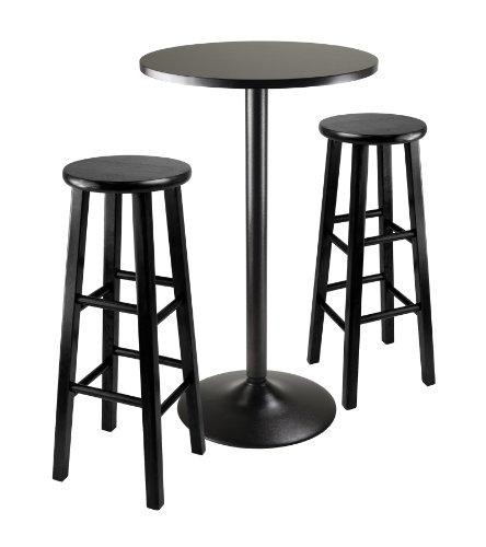 Winsome Obsidian Pub Table Set, 1, Black