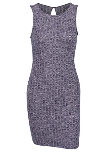 Sleeveless Knit Cocktail Mini (Sexy Ribbed Knit Sleeveless Bodycon Cocktail Stretchy Mini Dress (navy, m ))
