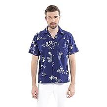 Men's Hawaiian Shirt Aloha Shirt in Vintage Blue Pineapple Floral