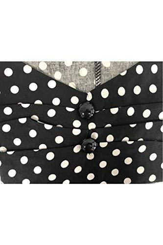 Mode Polka Fashion 50 Elgante Loisir Shirt Noir V Vintage Dots Chemisiers Annee Femme Chic Fit Haut Dame Cou sans Manches Tops Slim EqOwPIq