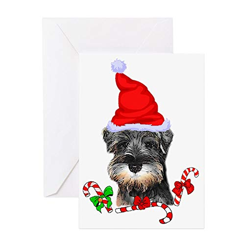 CafePress Miniature Schnauzer Christmas Greeting Card, Note Card, Birthday Card, Blank Inside Matte