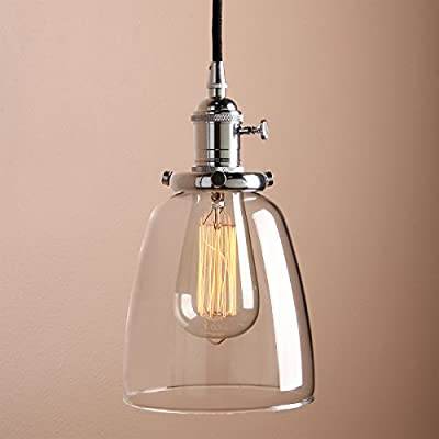 """Pathson Industrial Simple Style Hanging Lamp Fixture with Dia 5.6"""" Mini Oval-shaped Clear Glass Shade Pendant Vintage Factory Ceiling Light Fixtures"""