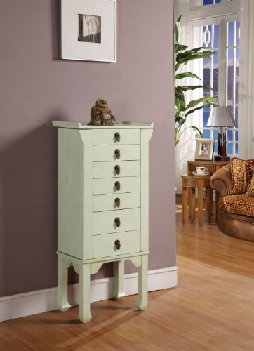 Nathan Direct Ningbo Chinese 7 Drawer Jewelry Armoire with 2 Side Compartments and a Lift-Top Compartment with Mirror and Ring Holders, Rustic Green