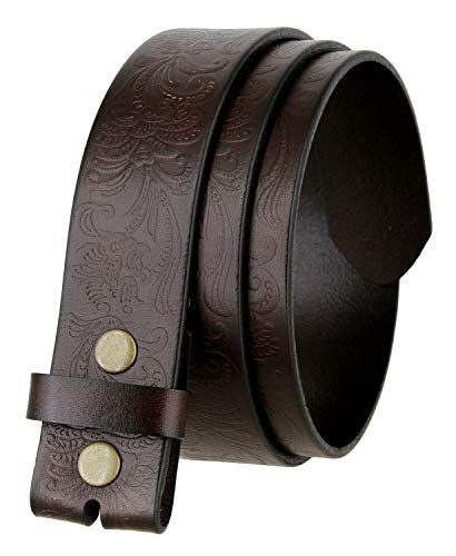 "Western Floral Engraved Tooled Full Grain Leather Belt Strap 1-1/2"" wide (Brown, 36)"
