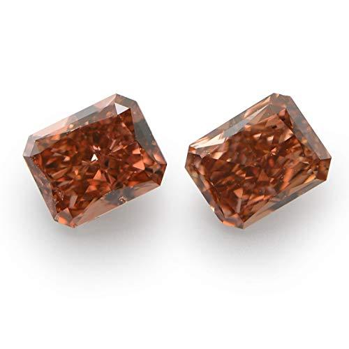 Leibish & Co 0.51 Carat Fancy Deep Brownish Pink Loose Diamond Natural Color Radiant Pair GIA