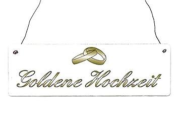 Shabby Vintage Holzschild Türschild Goldene Hochzeit Ringe