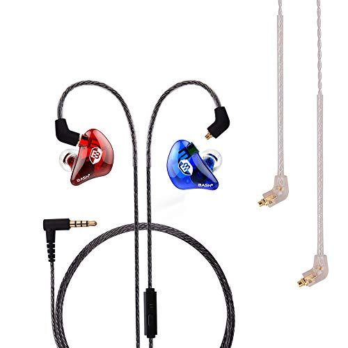 BASN Professional in-Ear Monitor Headphones for Singers Drummers Musicians with MMCX Connector Earphones (Lux ClearRedBlue)