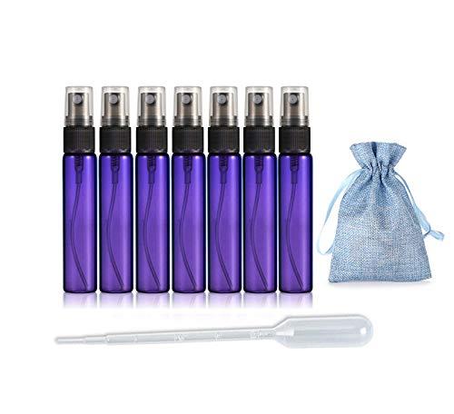 JJKMALL- 10PCS Purple 10ML 1/3OZ Protable Refillable Atomizer Spray Travel Perfume Bottle Hydrating Empty Bottle + 1pc Gift Storage Bag + 1pc 3ml Dropper