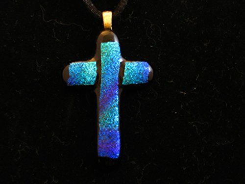 Fused Glass Cross Pendant, Dichroic Cross, Blue/Green Dichroic, Dichroic Necklace, Fused Glass Cross with Black Necklace Cord with Lobster Clasp 21in
