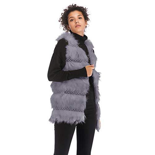 Fourrure Fausse Gilet Chaud Blouson Top Gris Veste Vest De Épais Ajourée Jacket Haut Cardigan Débardeur Coat Hiver Sweater Sans Peluche Manche Chandail Manteau YXWgq