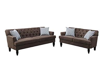 Poundex Bobkona Fostord Velveteen Fabric 2Piece Sofa & Loveseat Set in Dark Brown