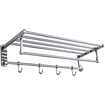 Cavoli Towel Rack Shelf Shelves with Foldable Towel Bars and Robe ...