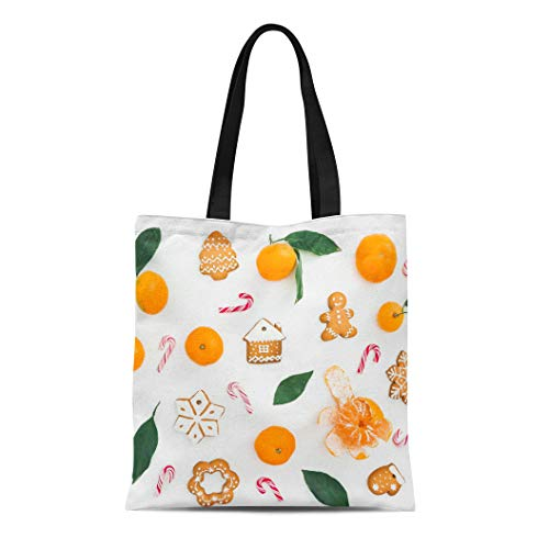 Semtomn Canvas Tote Bag Shoulder Bags Green Mandarin Leaves Candy Cane and Gingerbread on White Women's Handle Shoulder Tote Shopper ()