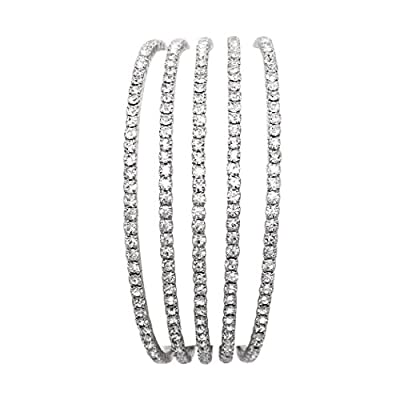 Rosemarie Collections Women's 5 Strand Rhinestone Statement Bracelet