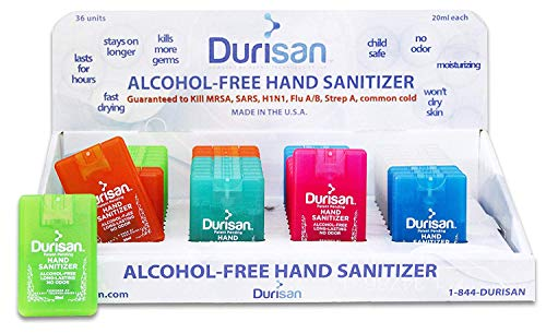 - Durisan Travel Hand Sanitizer Alcohol-Free, Long-Lasting, No Odor, Non Toxic, 24 Hour Protection 18 Milliliter Set of 6