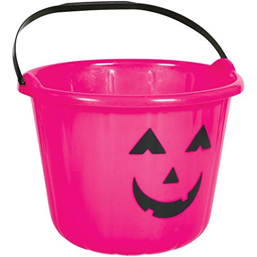 Cute Halloween Buckets - Hot Pink Plastic Pumpkin