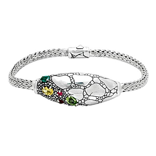 925 Sterling Silver Bracelet with Balinese Crocodile Motif with Mix Colors of Stones, Size 7.5 Inches for Women and Jewelry Gift (7.5, Amethyst, Citrine, Garnet, Green Quartz, Peridot) ()