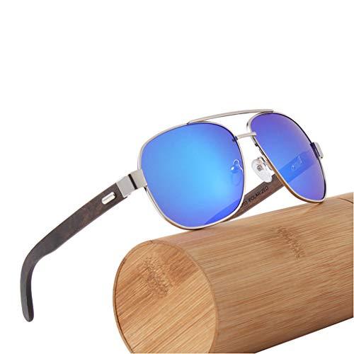 Unisex Color bambú Gafas de de polarizadas Gray Madera Green de sol Gafas clásicas UV400 conducción bambú Gafas TFvxOv