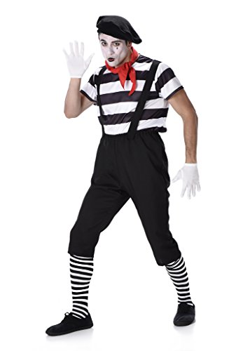 Mime Costume Set - Halloween Mens French Artist Circus Gentleman, X-Large -