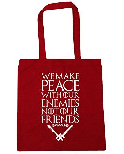 HippoWarehouse Wir Machen Frieden Mit Unserer Feinde Nicht Unser Freunde Spruch Einkaufstasche Fitnessstudio Strandtasche 42cm x38cm, 10 liter - Klassisch Rot, One size