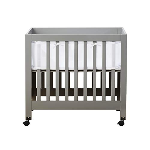 BreathableBaby Classic Breathable Mesh Mini Crib Liner - White - Trim Cradle Bedding