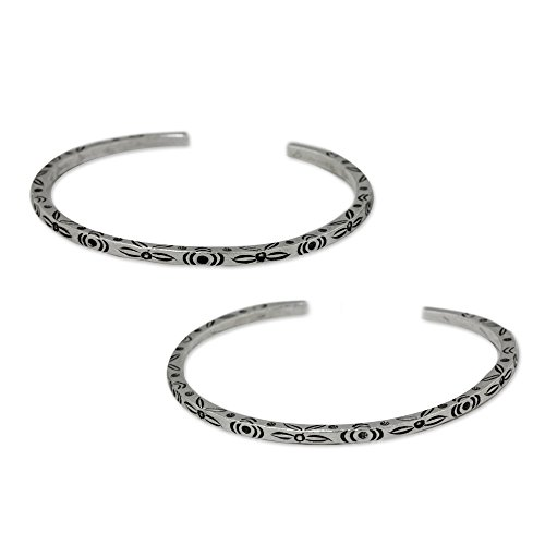 NOVICA .925 Sterling Silver Cuff Bracelet, 'Floral Couple' (Pair) by NOVICA