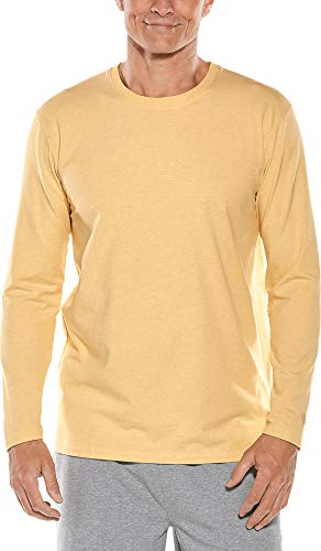 Coolibar UPF 50+ Men's Long Sleeve Everyday T-Shirt - Sun Protective (Large- Sunlight Yellow Heather)