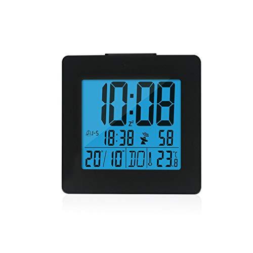 Little lemon Screen Blue Backlight Time Date Temperature Meter Snooze Dcf Radio Control Digital Display Alarm Clock,Black